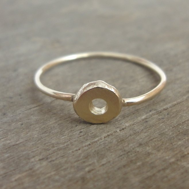 Gold ring with a raw gold nugget by Tanja Ting